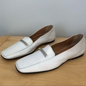 FENDI White Flats Logo Loafers Shoes Soft Leather